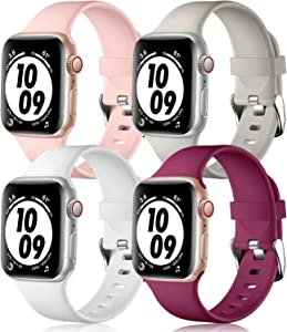 Getino Compatible with Apple Watch Band 38mm 40mm 42mm 44mm, Soft Durable Replacement Accessories Bands for iWatch Series SE Series 6 5 4 3 2 1, Fuchsia/Pink/White/Gray, 38/40mm M/L