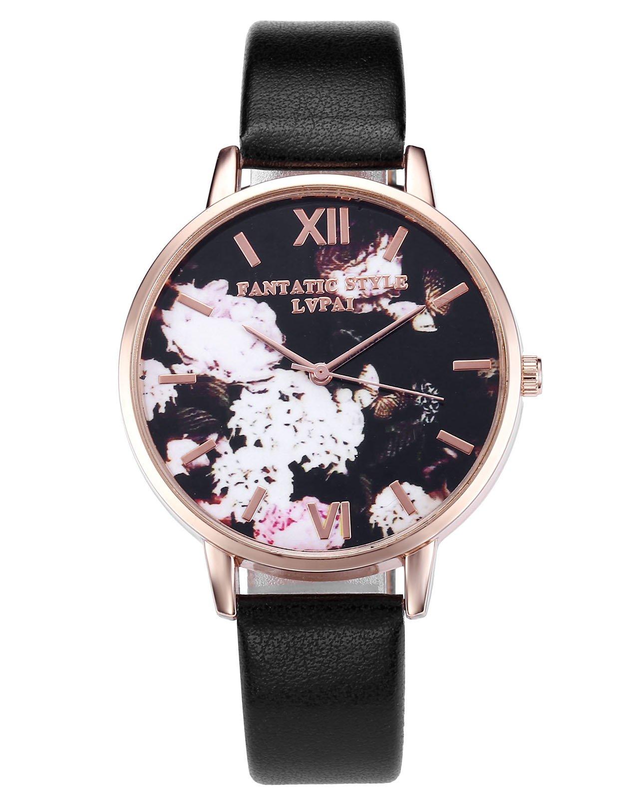 JSDDE Uhren,Retro Blumen und Schmetterling Damen Armbanduhr Basel-Stil Quarzuhr Lederband Rosegold Quarz Uhr(Schwarz)