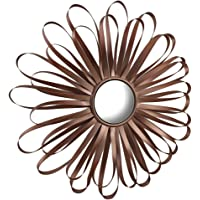 Retro Ribbon Flower Rose Gold Finish Metal Wall Mirror 16 Inch