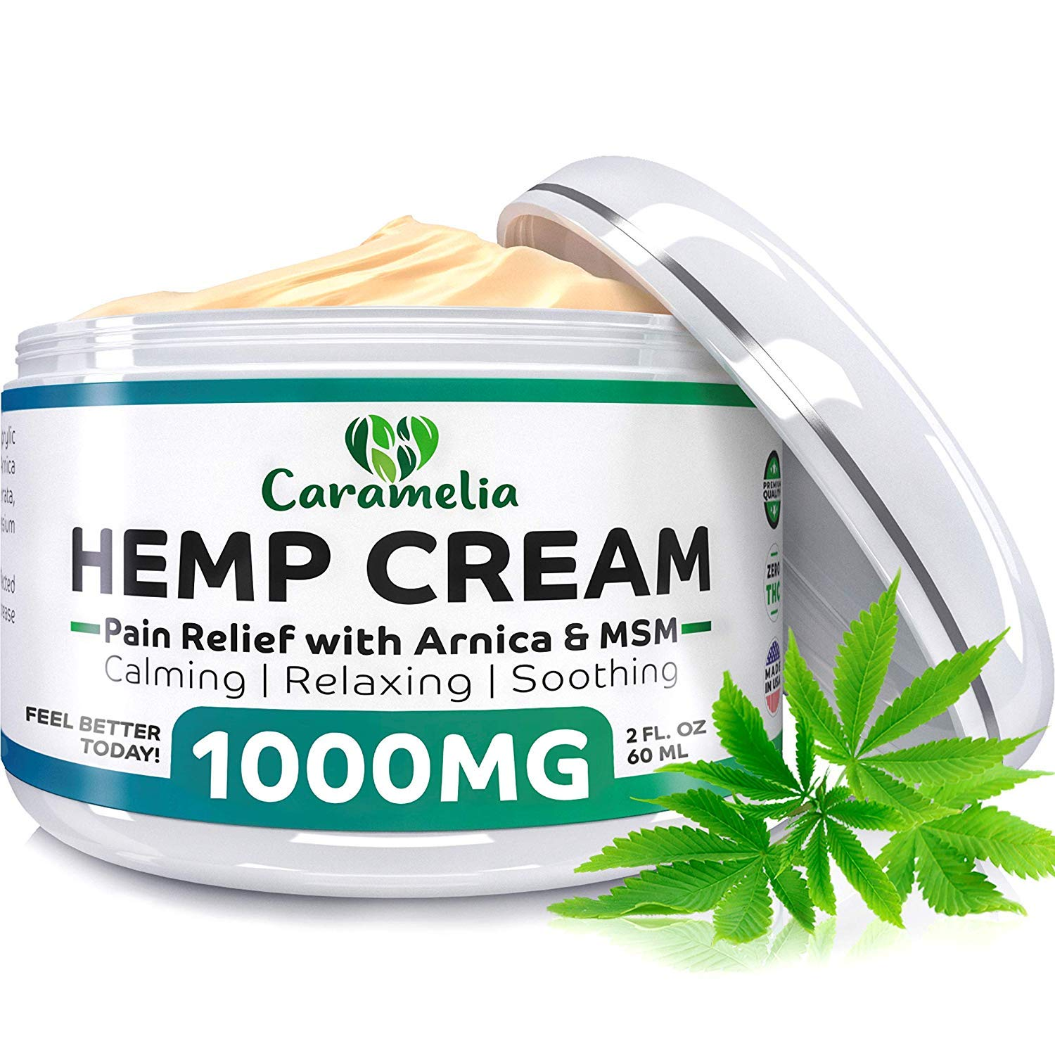 Hemp Extract Cream - 1000Mg - Made in USA - Natural Hemp Pain Relief Cream for Inflammation, Muscle, Joint, Back, Knee & Arthritis Pain - Hemp Salve Contains Arnica, MSM & 10% EMU Oil - Non-GMO