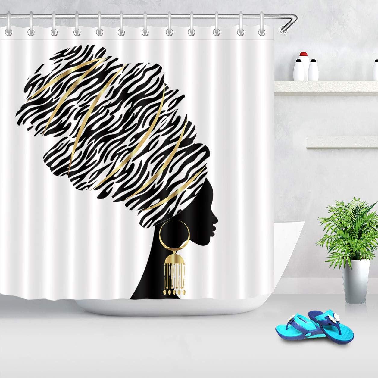 Waterproof Fabric Shower Curtain Hooks Beautiful African American Woman Pattern