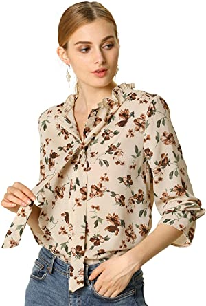 Allegra K Camisa Casual Top Floral Volante Fruncido Corbata Manga Larga Blusa para Mujeres: Amazon.es: Ropa y accesorios