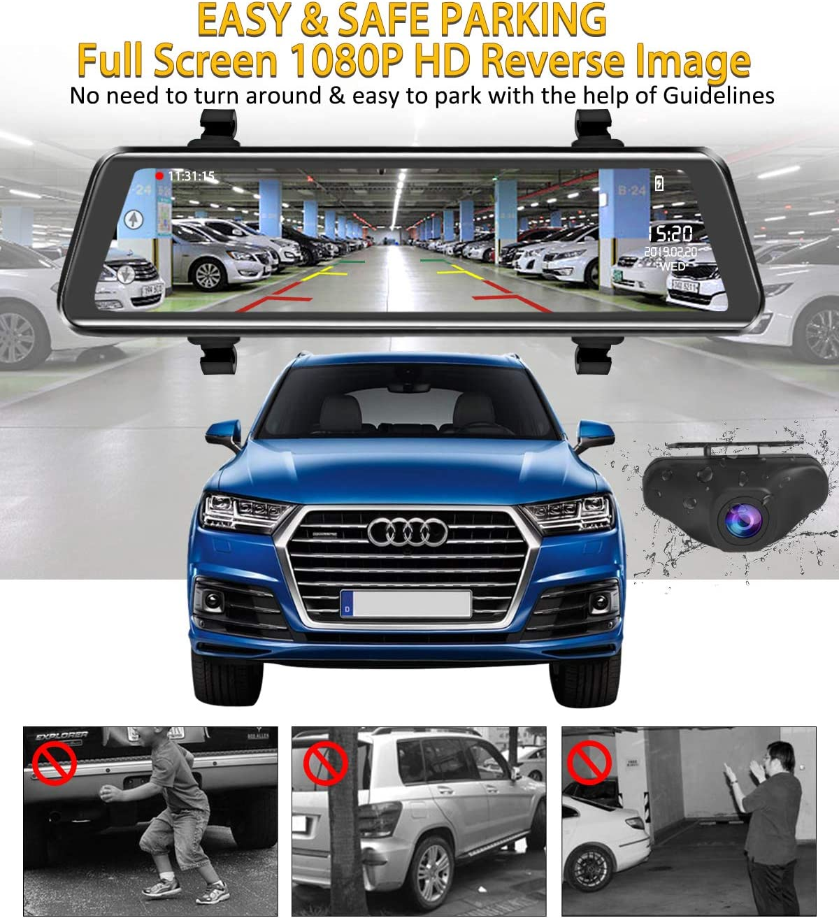 Mirror Dash Cam 9.88 inch Full Touch Screen Car Backup Camera Dual Recording HD Front 1080P 170/° Wide Angle 1080P Rear View Camera 150/° URVOLAX Night Vision,24-Hour Parking,GPS SD Card