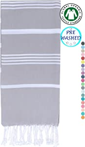 Turkish Peshtemal Towels Pestemal Towel Thin Camping Bath Sauna Beach Gym Pool Blanket Fouta Towels 100%Cotton Light Grey