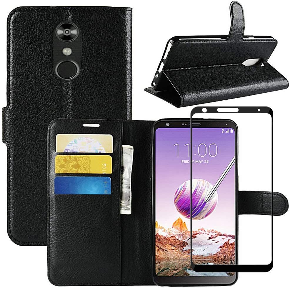 LG Stylo 4 Wallet Case with [Full Coverage] Tempered Glass Screen Protector, [LuckQR] Luxury PU Leather Wallet Case, Magnetic Clasp Closure Protective Phone Cover Case for LG Stylo 4 - Black