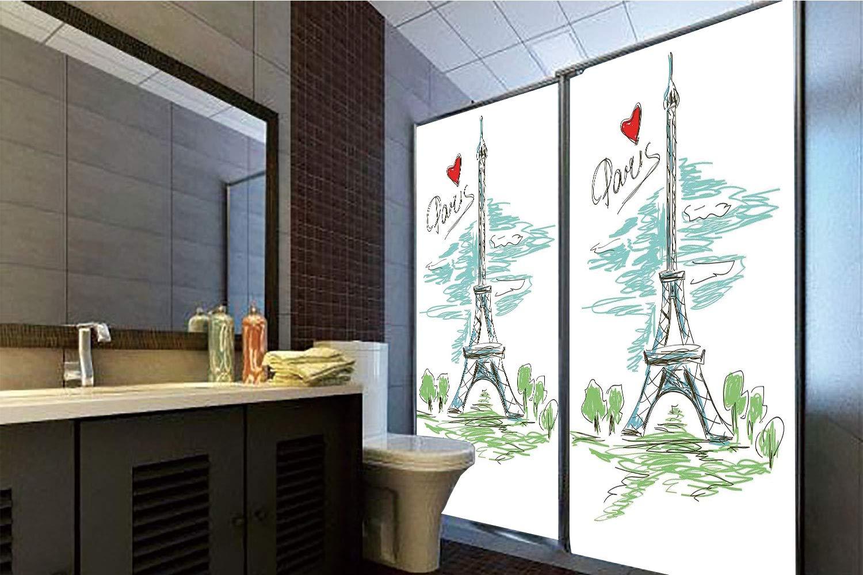 Horrisophie dodo 接着剤不要 静電気でくっつくガラスステッカー パリのレトロな風景 ヴィンテージカラー エッフェル塔 ラブ モダン キャピタル シティ クラシック クリーム 高さ35.43インチ×幅23.62インチ 自宅&オフィス用 39.37