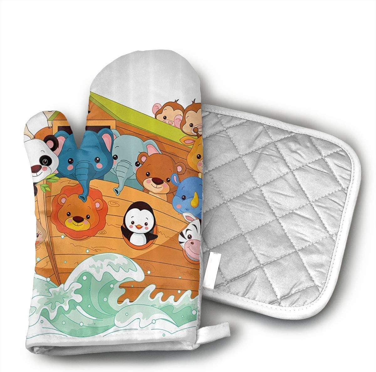 GUYDHL Unisex Oven Mitt and Pot Holder for Mythological Animals in The Ship Ancient Story Lion Sea - 2 Pair