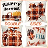 OurWarm Fall Pillow Covers 18×18 Inch for Fall Thanksgiving Decor Set of 4 Autumn Thanksgiving Farmhouse Buffalo Plaid…