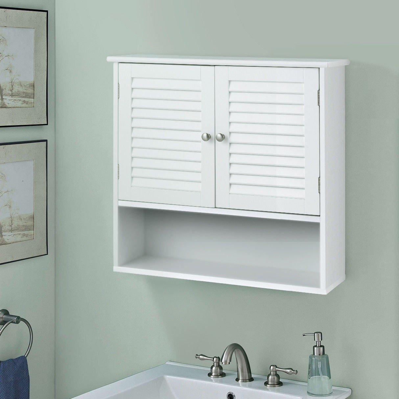 WATERJOY Storage Cabinet, Bathroom Wall Cabinet Shutter Doors Shelves, Cabinet Cupboard Bathroom, Kitchen Room Living Room, White