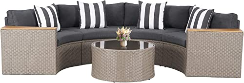 SUNCROWN Outdoor Patio Sofa 5-Piece Half-Moon Sectional Set