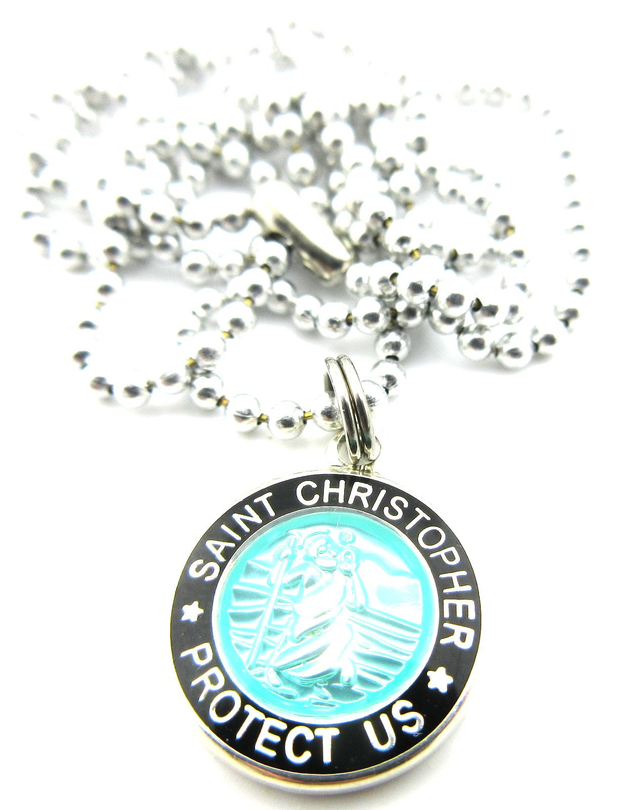 Mini St Christopher Surf Medal Pendant Necklace,Aquamarine/Black AQ/BK by Get Back Supply Co (Image #1)