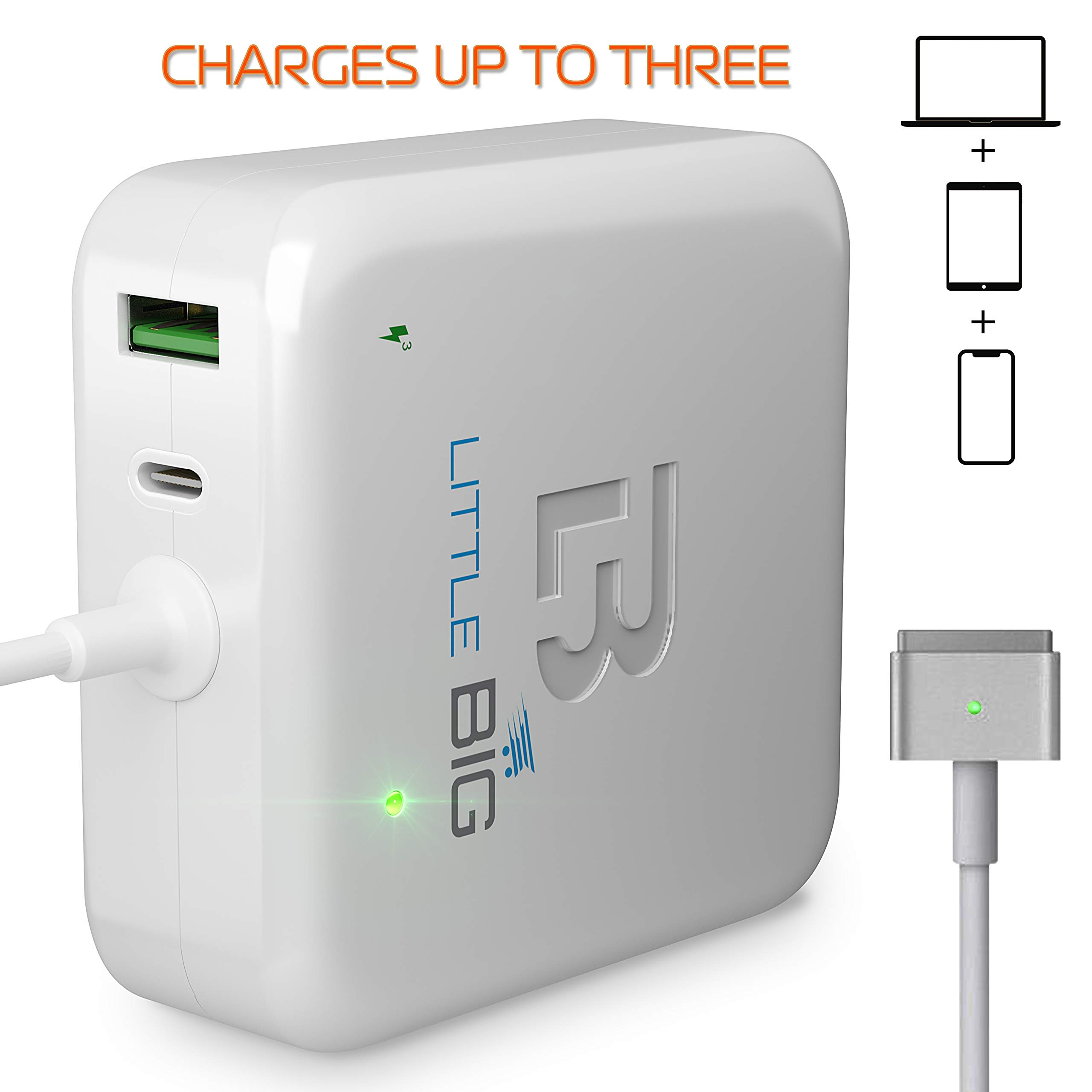 MacBook Air Charger 45w T-tip - Multifunctional Charger Compatible with MacBook Air 45w Magsafe 2 - White
