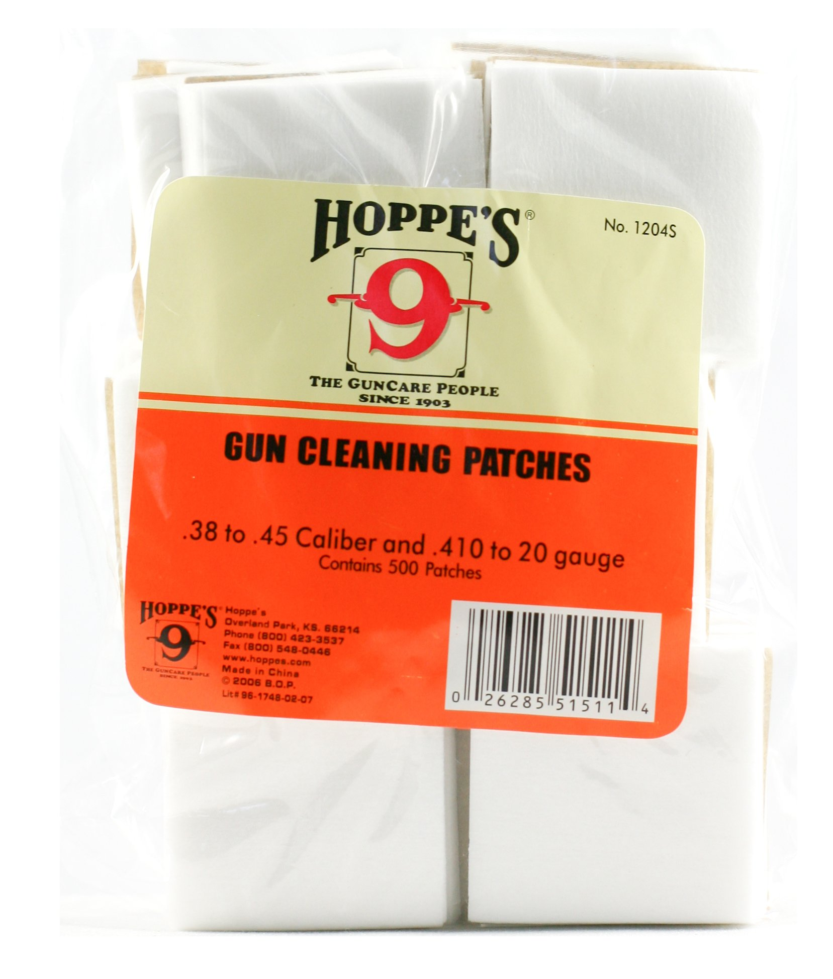 Hoppe's No. 9 Gun Cleaning Patch .38-.45 Caliber/.410-20-Gauge (500 Pack) 2