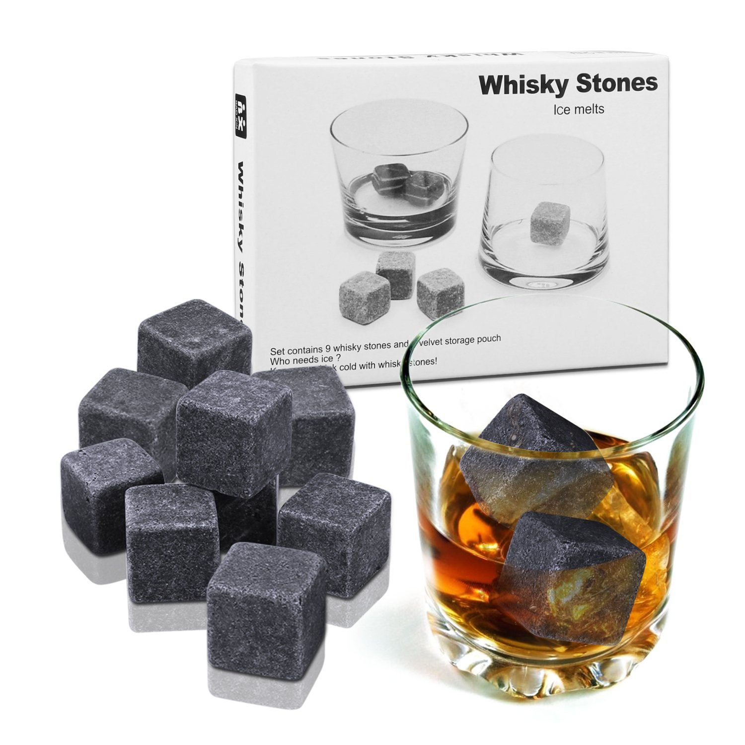 Whisky Stones, Proking 9 Pcs Gift Set Whisky Rocks Chilling Stones Reusable Granite Ice Cubes, Scotch Whisky Drinks Beer Wine Cooler, Best Gift For Whiskey Drinker, Husband, Dad, Men (black)