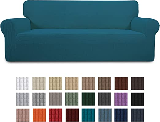 Sofa,Peacock Blue Easy-Going Stretch Sofa Slipcover Couch Sofa Cover Furniture Protector Soft with Elastic Bottom for Kids Spandex Jacquard Fabric Small Checks