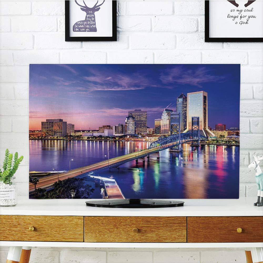 """LCD TV dust Cover Strong Durability,United States,Jacksonville Florida Skyline Vibrant Night St. Johns River Scenic,Royal Blue Light Pink,Picture Print Design Compatible 70"""" TV"""