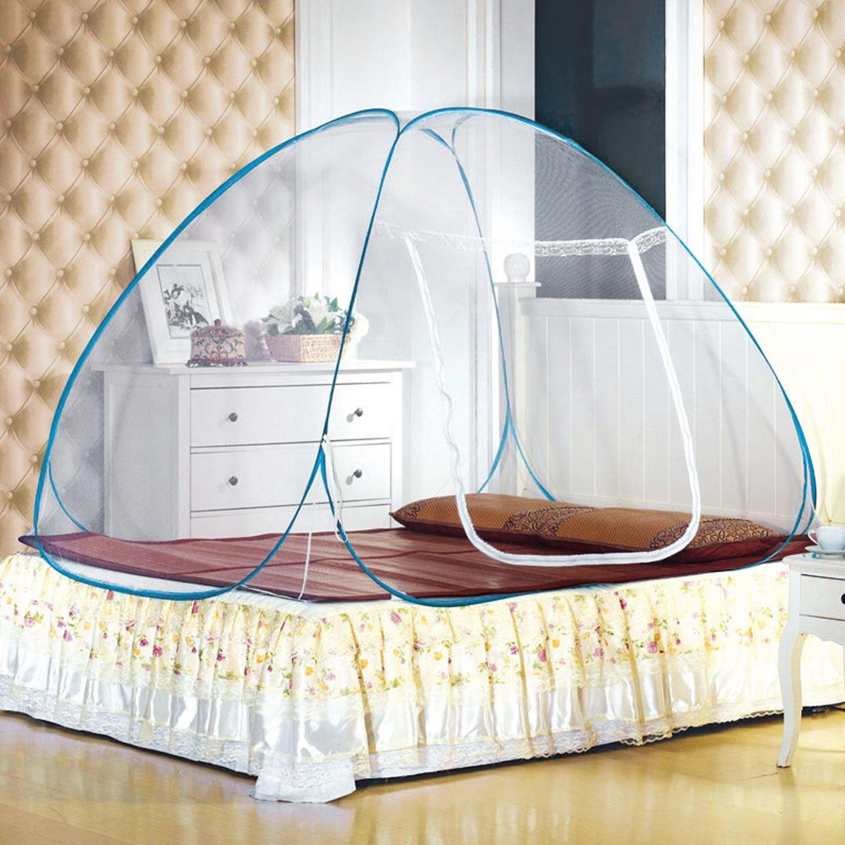 LEOSO Portable Folding Pop Up Mosquito Net Travel Camping Tent (M=150cm*200cm*138cm,59'' x 78.7'' x 54.3'' blue)