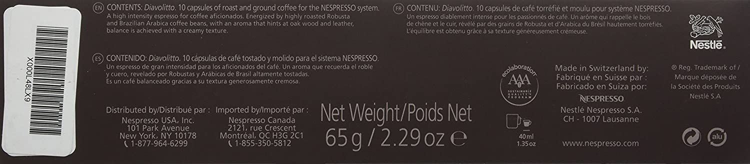 10 Capsules Nespresso VertuoLine Diavolitto Coffee: Amazon.com ...