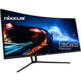 """Nixeus EDG 34"""" Ultrawide 3440 x 1440 AMD Radeon FreeSync Certified 144Hz 1500R Curved Gaming Monitor with Tilt Only…"""