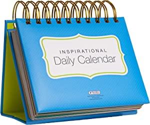 Motivational & Inspirational Perpetual Daily Flip Calendar with Self-Standing Easel (Bright Colors)