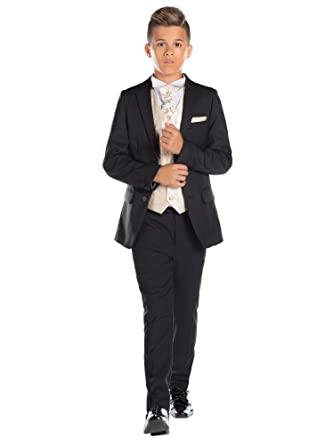 Paisley of London, niños traje negro, Slim Fit Suit, diamante chaleco y corbata, 12 – 18 M – 13 años
