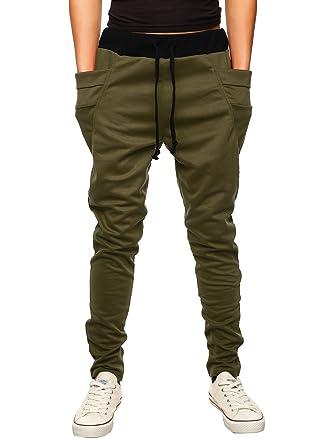 e9b4a551a HEMOON Mens Jogging Pants Tracksuit Bottoms Training Running Trousers Green  S