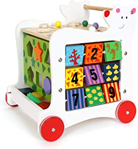 Small Foot Wooden Toys Wooden Baby Bear Walker, 5-Sided Fun Promotes Motor Skills, Designed for Children Ages 12+ Months