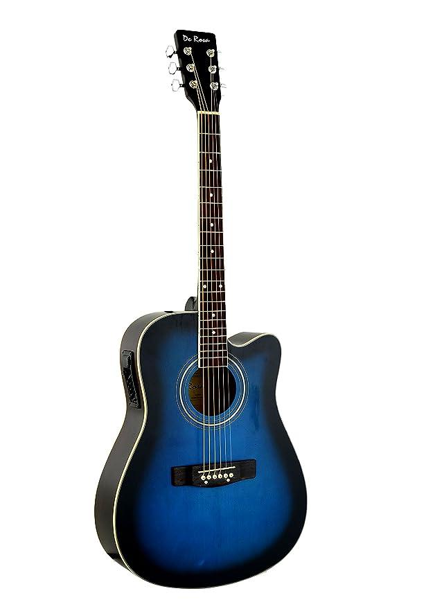 De rosa azul Burst acústica guitarra eléctrica con accesorios: Amazon.es: Instrumentos musicales