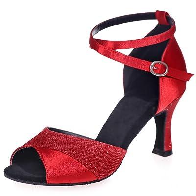 Elobaby Chaussures De Danse pour Femmes en Cuir Latin Super Satin Glitter Standard Latin/Moderne/7.5cm Talon/Robe