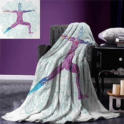 Amazoncom Chakra Throw Blanket Girl On Yoga Warrior Pose With