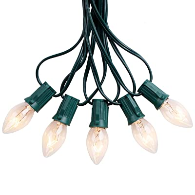 Brightown 25FT C7 String Lights Outdoor Warm White Christmas Lights Green Wire for Room Garden Patio Backyard Cafe Party Decoration, 25 Bulbs