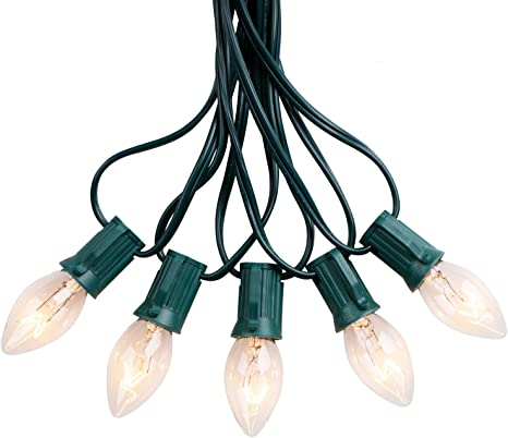 Green Wire Hanging Patio String Lights 25 Foot C7 Multi Christmas Light Set