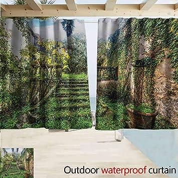 DocGike Nature - Cortina de pérgola con Imagen de Las montañas de césped Fresco, Ideal para Salones y dormitorios, Color Verde y Azul: Amazon.es: Jardín