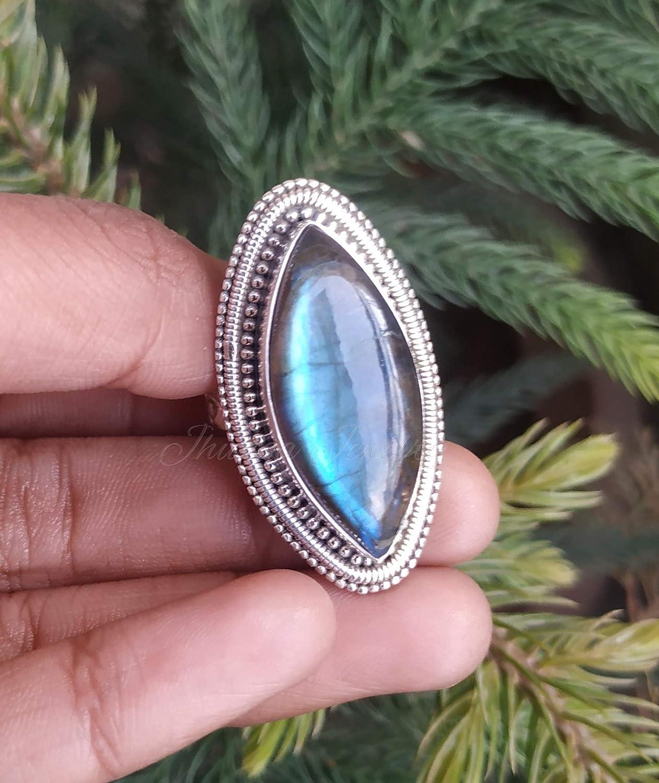 Dainty Ring Gemstone Ring Boho Ring Handmade Ring Statement Ring Women Ring 925 Silver Ring Labradorite Ring Gift For Her