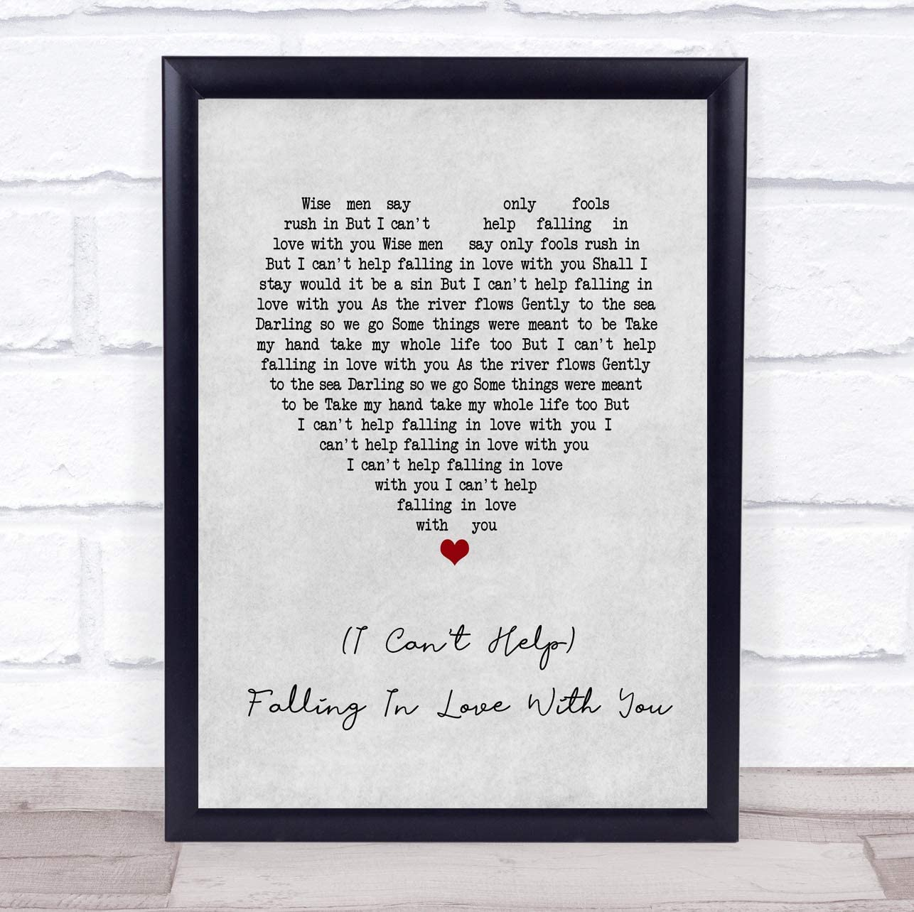 (I Can't Help) Falling in Love with You Grey Heart Song Lyric Quote Print