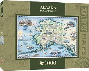 MasterPieces Xplorer Maps Jigsaw Puzzle, Alaska, National Park, 100% Made in USA, 1000 Pieces