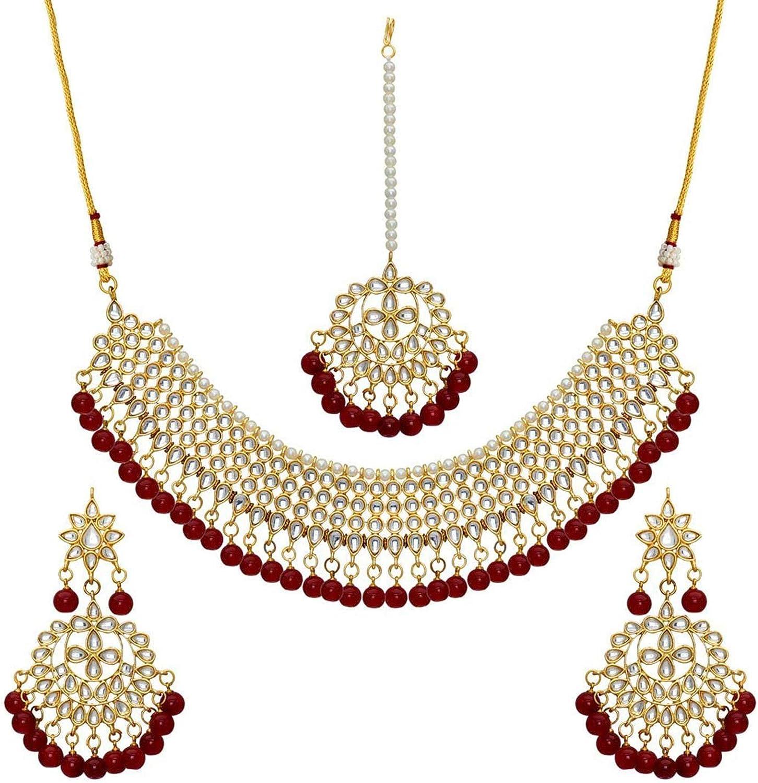 Aheli Hochzeitskleidung Kundan Perlen Choker Halskette Set mit Maang Tikka indischen Schmuck f/ür Frauen M/ädchen Kastanienbraun