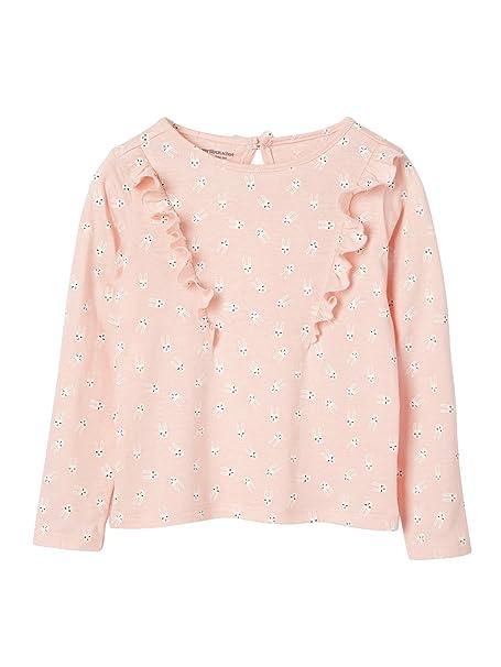 7bf1ef143 VERTBAUDET Camiseta Niña Estampada con Volantes Rosa Claro Estampado ...
