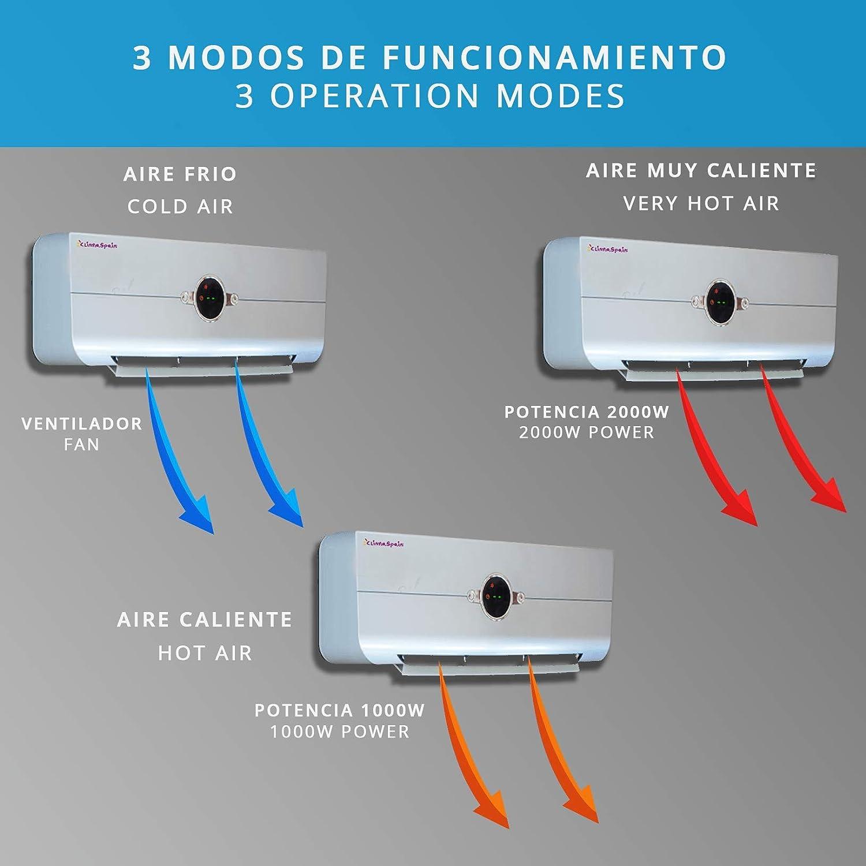 ClimaSpain Calefactor Aire Caliente de Pared Easy2020 Plata ...