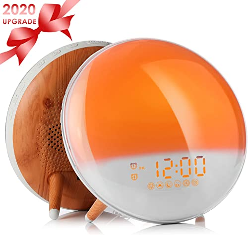 Wake Up Light Alarm Clock, Sunrise Sunset Simulation Alarm Clock with Dual Alarms,Snooze Function, 7 Colors Atmosphere Lamp, FM Radio 7 Natural Sound, USB Charger for Kids Adults Bedroom Home Office