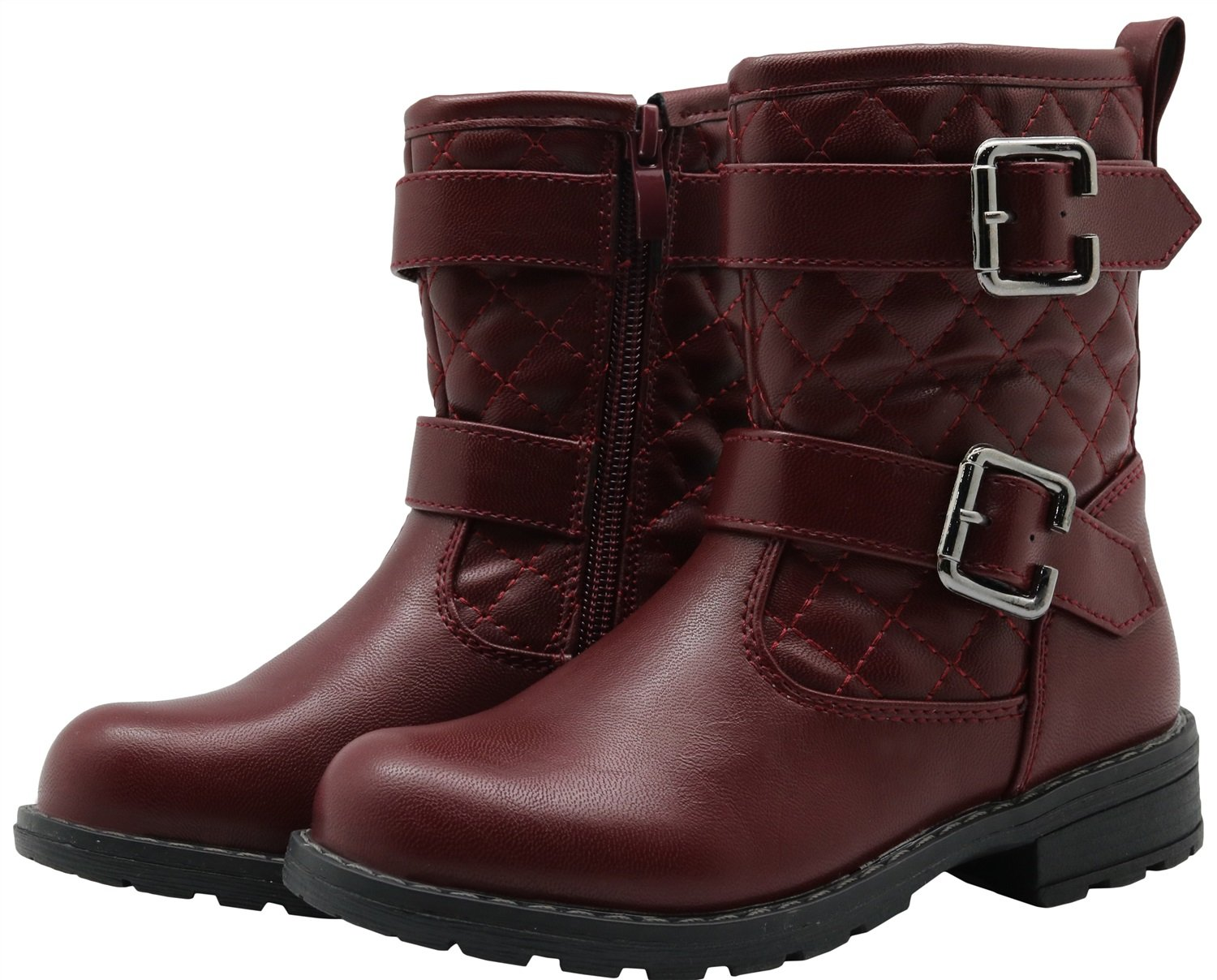 Little Kid Color : WineRed , Size : 11 UK Non-Slip Autumn Girls Shoes Flat Riding Boots Durable