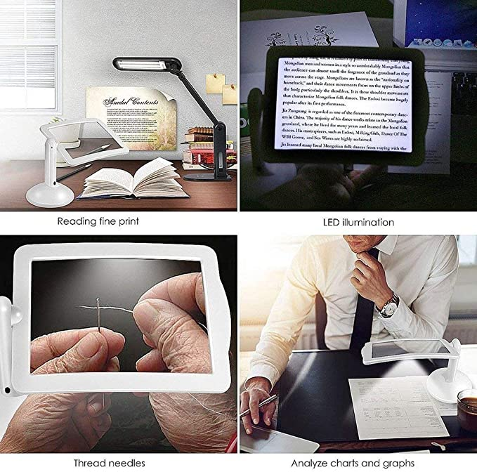 Blanc Loupe 3X mains libres 3X /à rotation /à 360 degr/és avec /éclairage de table /à LED