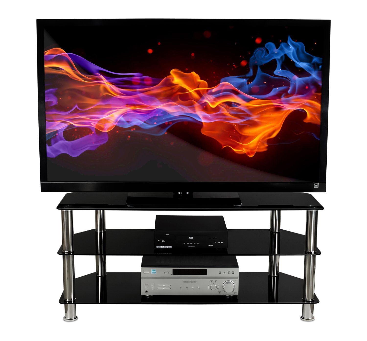 Amazoncom Mount It Glass Tv Stand For Flat Screen Televisions Fits