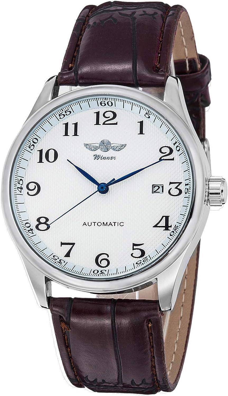 Reloj mecánico para hombre, esfera blanca, manecillas azules, correa de poliuretano, para hombre, estándar