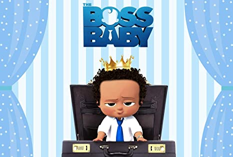 Eric 7x5ft Boss Baby Party Decor Backdrop Curly Hair Light Skinned African American Boy Blue Curtain Background Happy Birthday Baby Shower Banner