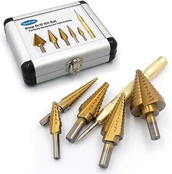 50 Sizes Double Cutting Blades Design BAYTECH 5PCS Titanium Step Drill Bit Set /& Automatic Center Punch High Speed Steel Drill Bit Set