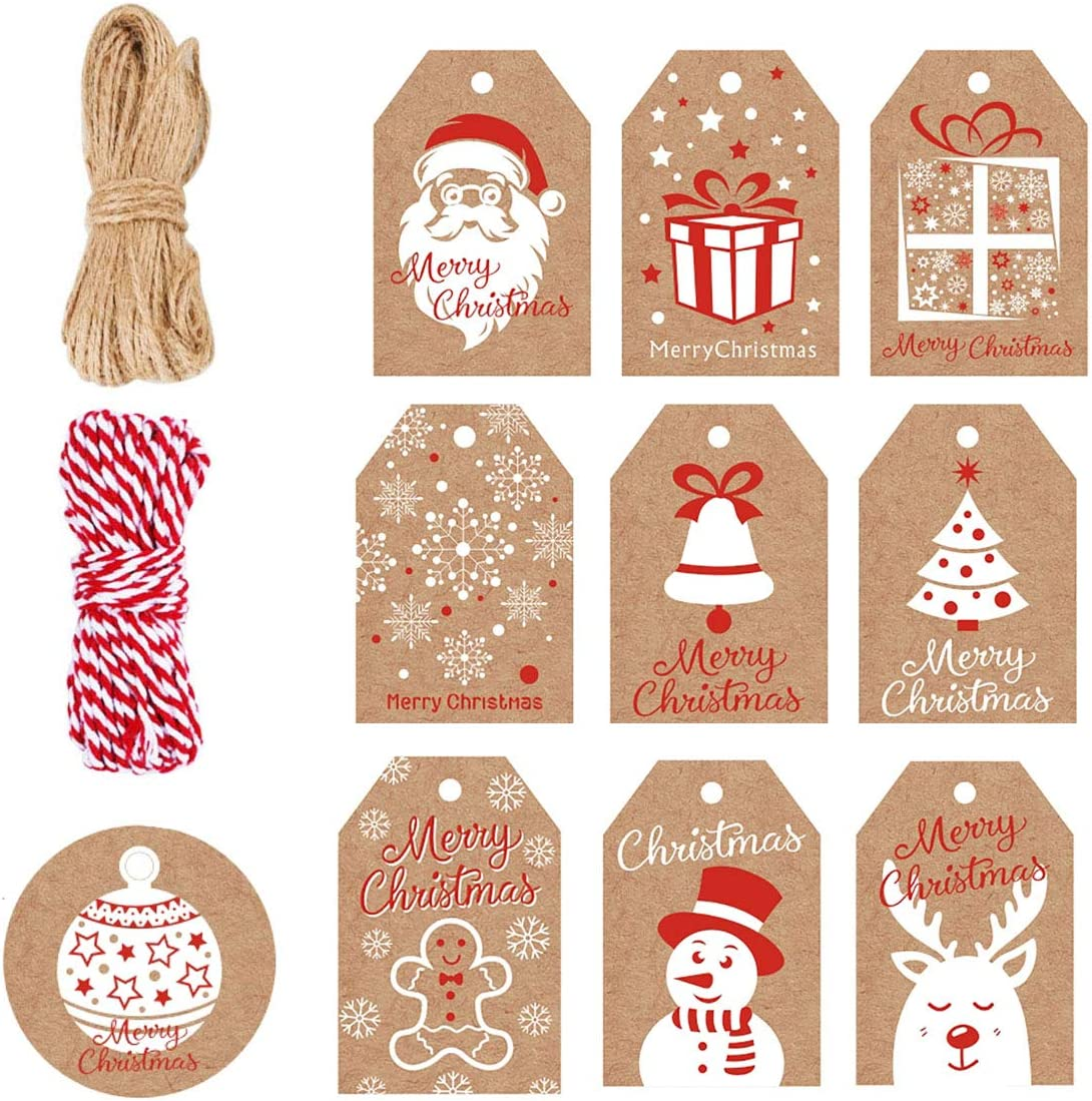 2 Large Christmas Sacks traditional Jute 1 red 1 natural 70x50cm luxury printed