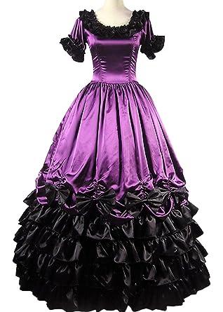 96bce342f2a86 ゴシック・ロリータ風 紫黒 半袖 ロリータ ドレス Gothic  Lolita風 Dress 洋服 ハロウィン パーティー