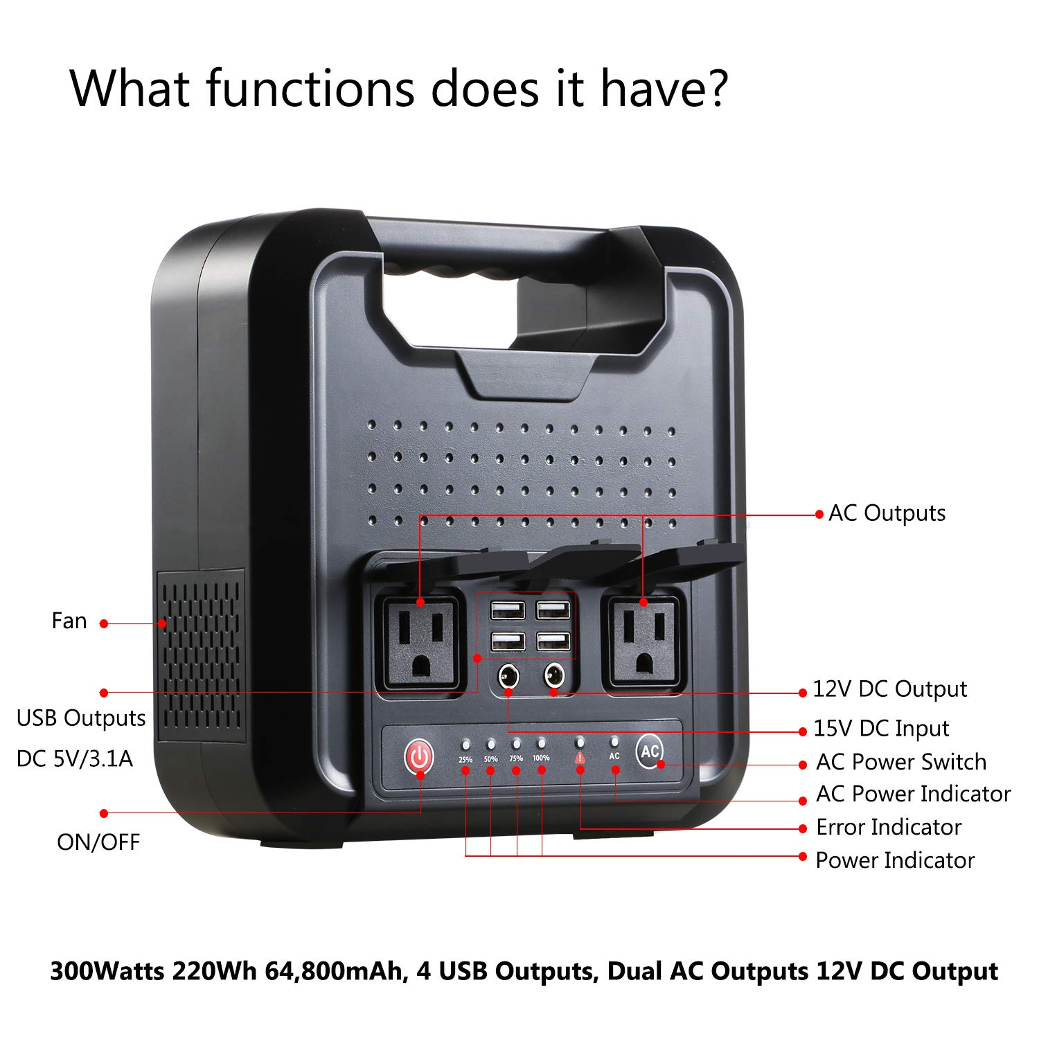 Portable AC Power Bank, 300Watts 220Wh Pure SineWave Power Inverter, Mini Generator, Power Charger, External Battery Packs with 110V AC Outlet, 12V DC USB for Camping, Traveling, Emergency Backup