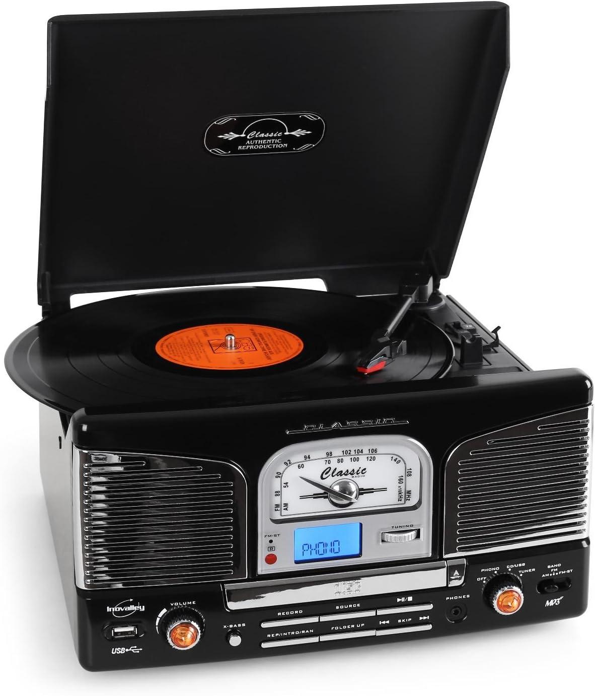 Inovalley Retro03 Cadena estéreo con tocadiscos negro: Amazon.es ...